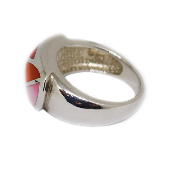 Sterling Silver Ring with Orange and Pink Mosaic -  - State Street Jewelry and Loan