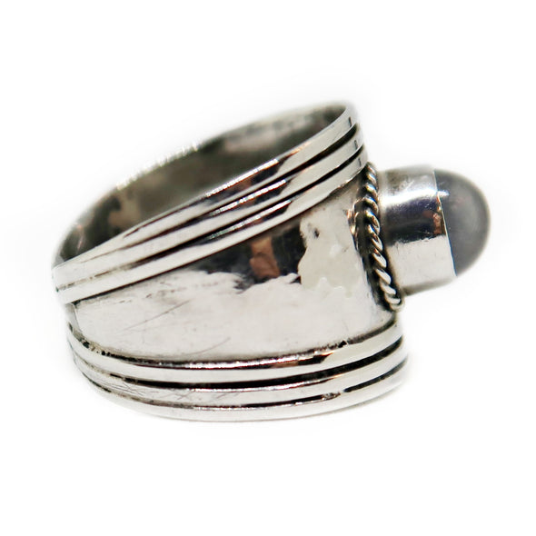 Sterling Silver Ring with Smokey Grey Stone -  - State Street Jewelry and Loan