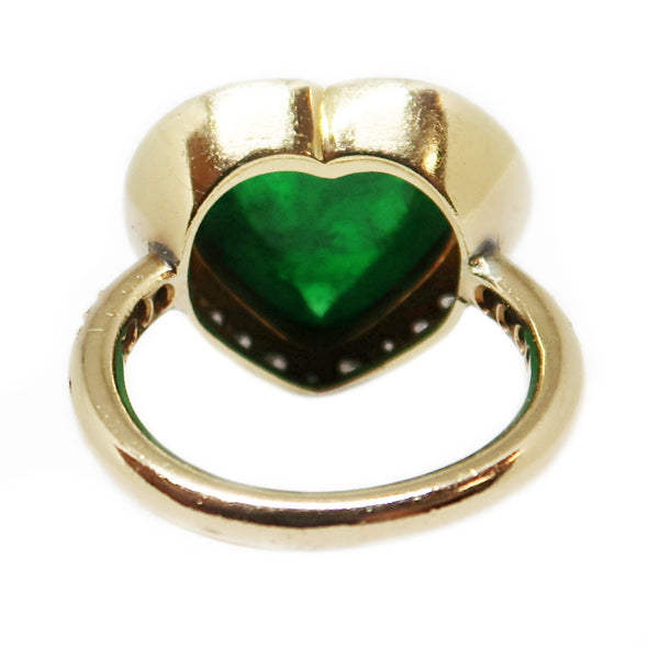 Cabochon Emerald Ring 18k Yellow Gold and Diamonds -  - State Street Jewelry and Loan