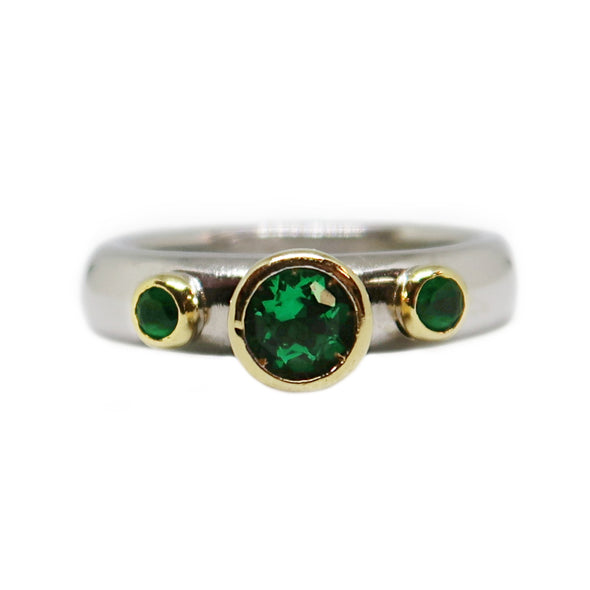 18k Two-Toned Yellow and White Gold Ring with Round Cut Emeralds and Diamonds