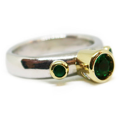 18k Two-Toned Yellow and White Gold Ring with Round Cut Emeralds and Diamonds -  - State Street Jewelry and Loan