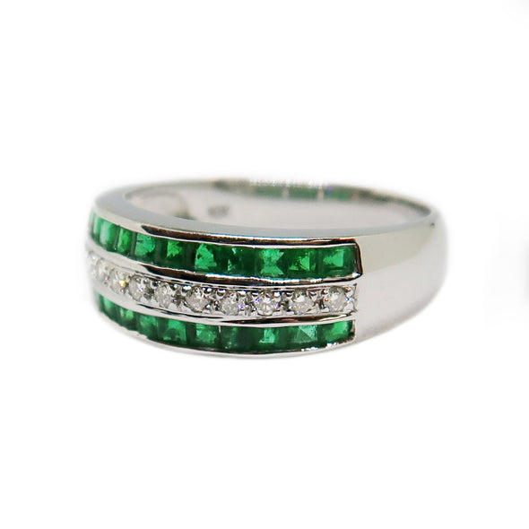 18K White Gold Ring with Emeralds and Diamonds -  - State Street Jewelry and Loan