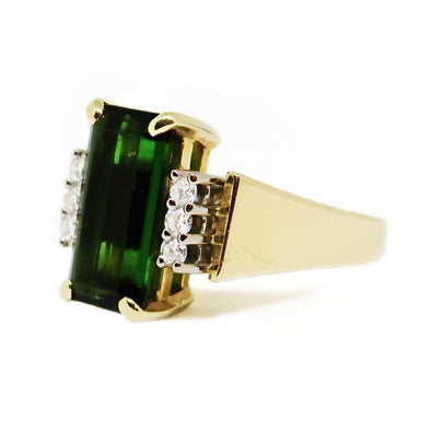 18k Yellow Gold Ring with Emerald Cut Tourmaline and Diamonds