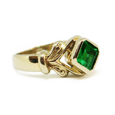 18k Yellow Gold Ring with Asscher Cut Emerald