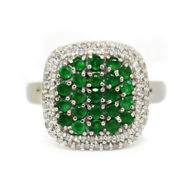 14k White Gold Ring with Round Cut Emerald and Diamond