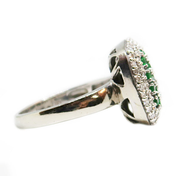14k White Gold Ring with Round Cut Emerald and Diamond -  - State Street Jewelry and Loan