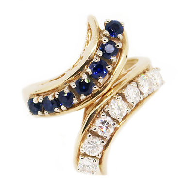 14k Yellow Gold Ring with Diamonds and Sapphires -  - State Street Jewelry and Loan