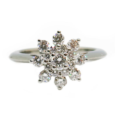 Tiffany & Co. Platinum Flower Diamond Ring