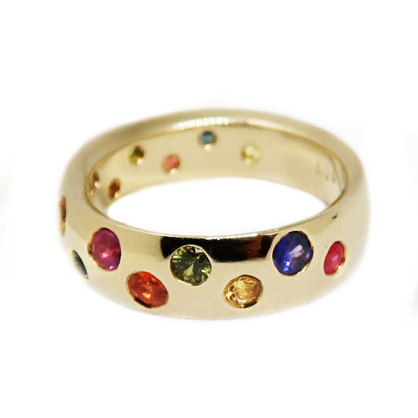 18k Yellow Gold Ring with Multi Color Stones