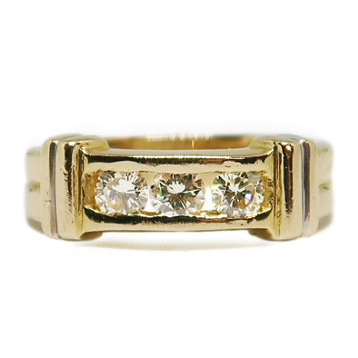 18K Yellow Gold Diamond Ring Band