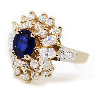 14K Yellow Gold Ring with Oval Cut Sapphire and Diamonds