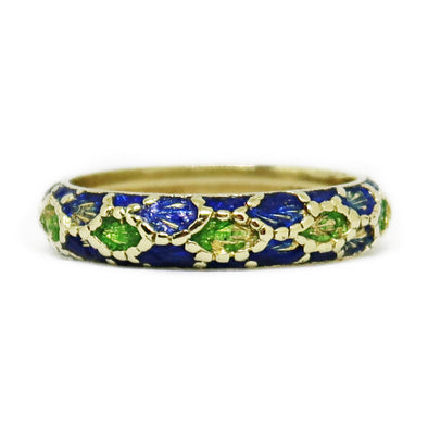 18K Yellow Gold Enamel Ring Band