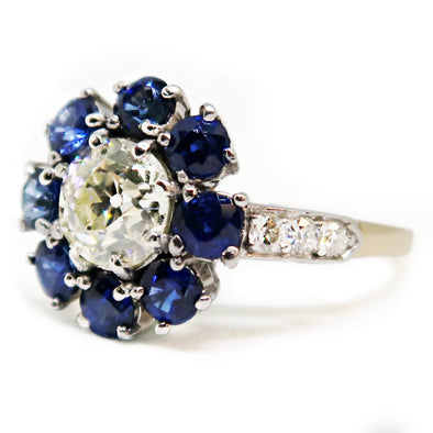 14k Yellow Gold and Platinum Ring with Diamonds and Sapphires