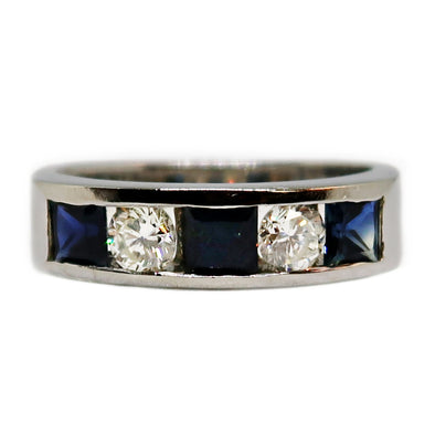 White Gold 14k Ring with Sapphires and Diamonds