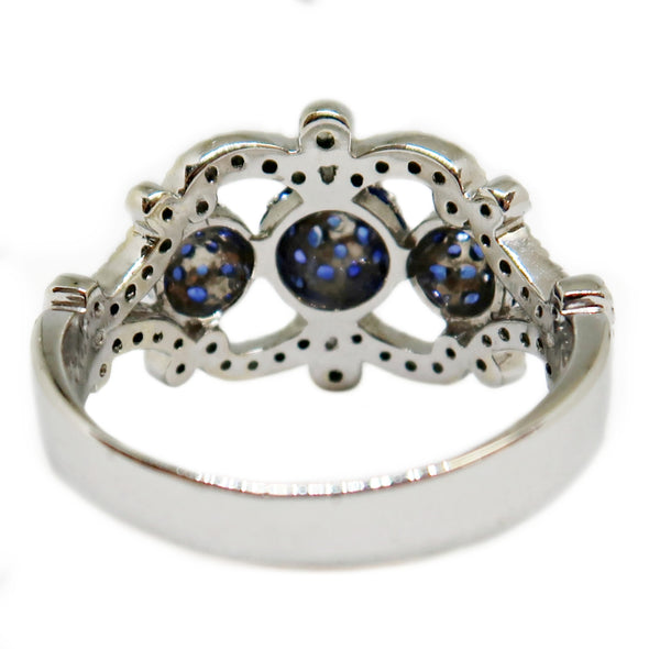 18k White Gold Ring with Sapphires and Diamonds -  - State Street Jewelry and Loan