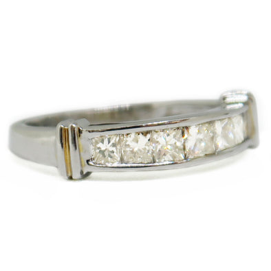 14k White Gold Wedding Band with Diamonds -  - State Street Jewelry and Loan
