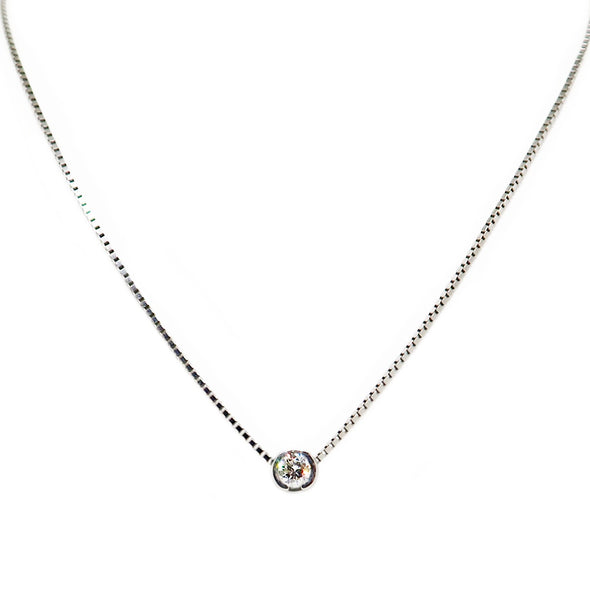 14K White Gold Diamond pendant w/ chain -  - State Street Jewelry and Loan