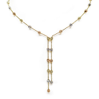 10K 3 Tone 3mm Bead Necklace -  - State Street Jewelry and Loan