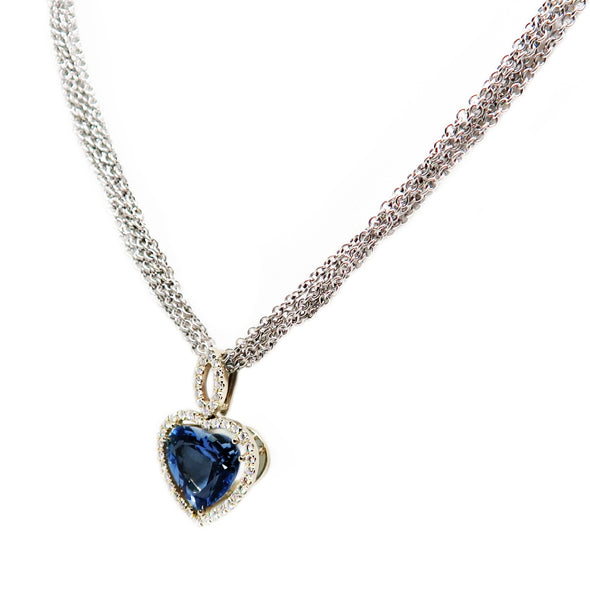18K White Gold Aquamarine Heart Necklace w/ Diamonds -  - State Street Jewelry and Loan