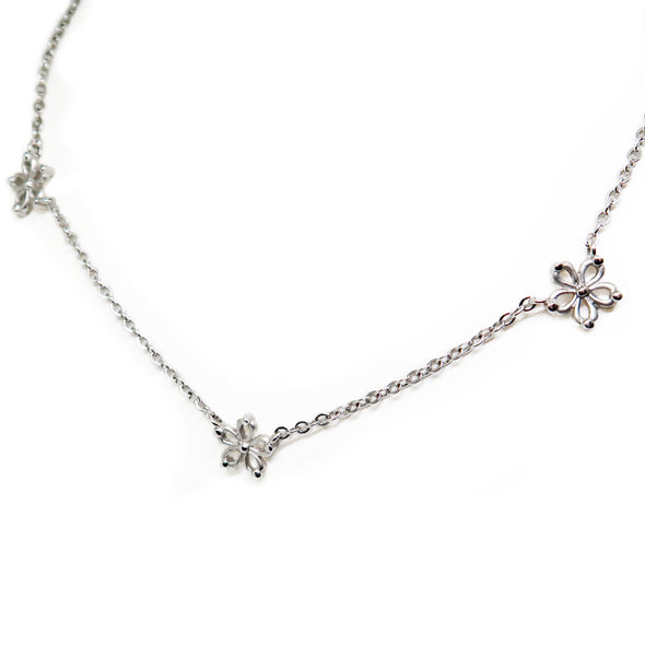 14K White Gold chain with Flowers -  - State Street Jewelry and Loan
