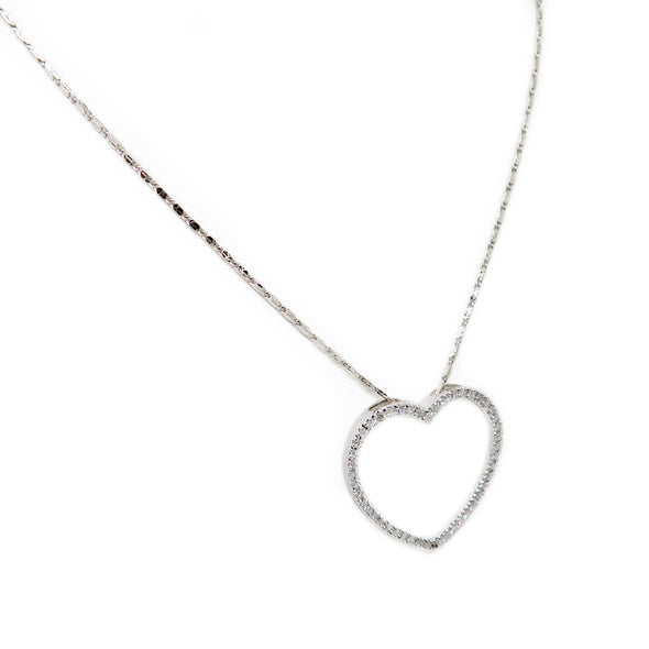14K White Gold Diamond Heart Pendant Chain -  - State Street Jewelry and Loan