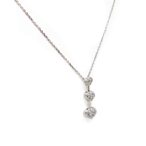 14K White Gold 3-Heart Diamond Necklace -  - State Street Jewelry and Loan