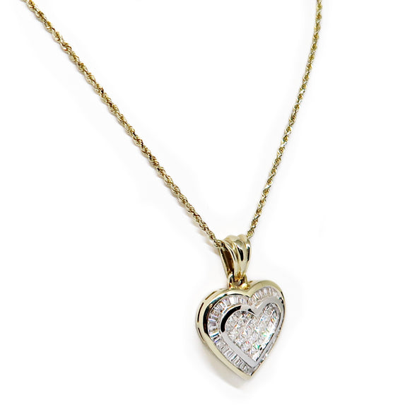 14K Yellow Gold Diamond Heart Necklace -  - State Street Jewelry and Loan