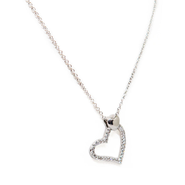 14K White Gold Diamond Heart Necklace -  - State Street Jewelry and Loan