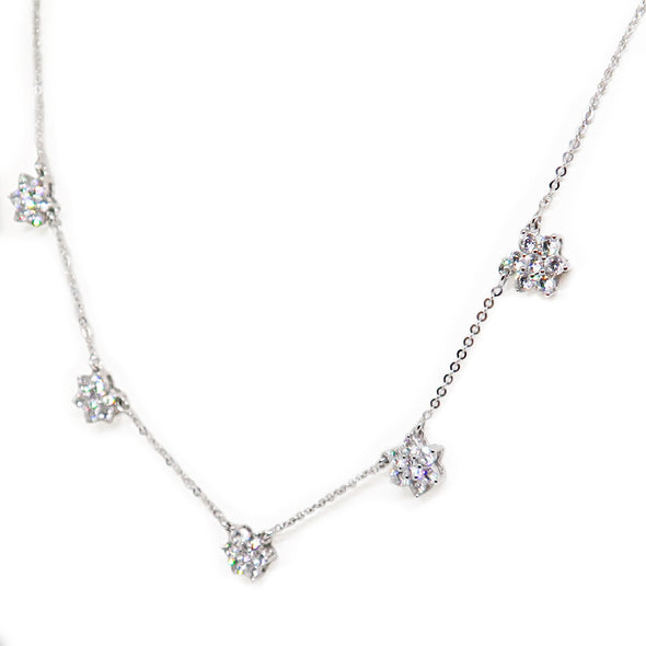 14K White Gold Diamond Flower Necklace -  - State Street Jewelry and Loan
