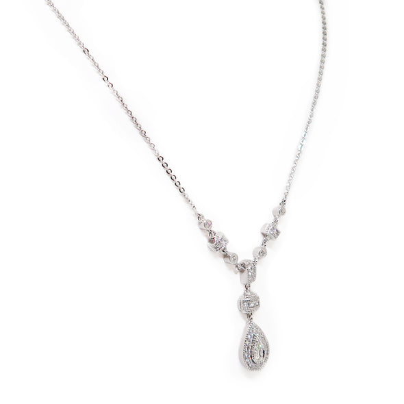 18K White Gold Tear Drop Necklace -  - State Street Jewelry and Loan