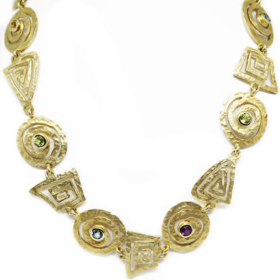 18KT Multicolored Stone Necklace -  - State Street Jewelry and Loan