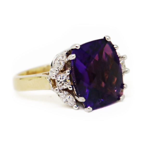 14K2T Amethyst/Diamond Ring - jewelry - State Street Jewelry and Loan
