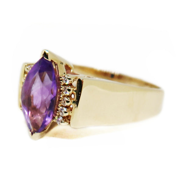 14KYG Amethyst/Diamond Ring - jewelry - State Street Jewelry and Loan