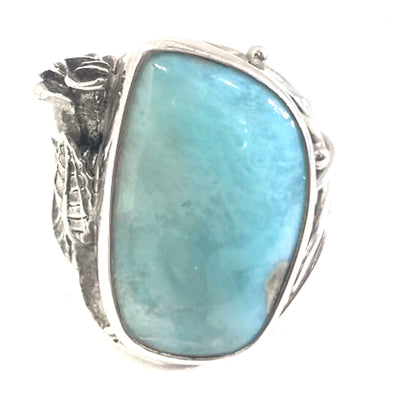 925 Sterling Silver Ring With Larimite Stone