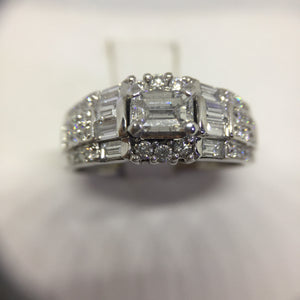 18K White Gold Emerald Cut Diamond Engagement Ring -  - State Street Jewelry and Loan