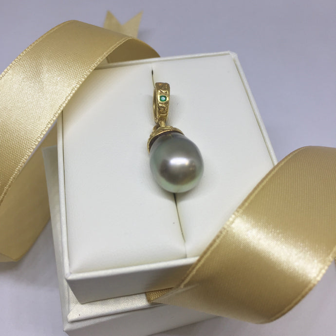 Daniel Gibbings 22k Yellow Gold Black Tahitian Pearl Pendant with Emerald - Pendant - State Street Jewelry and Loan