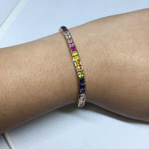 Ladies Sterling Silver Bracelet with Multicolor Stones. -  - State Street Jewelry and Loan