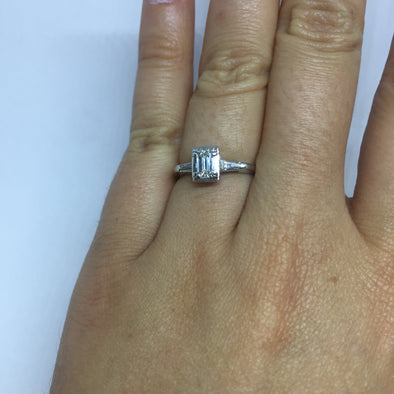 14k White Gold Emerald Cut Ladies Engagement Ring -  - State Street Jewelry and Loan