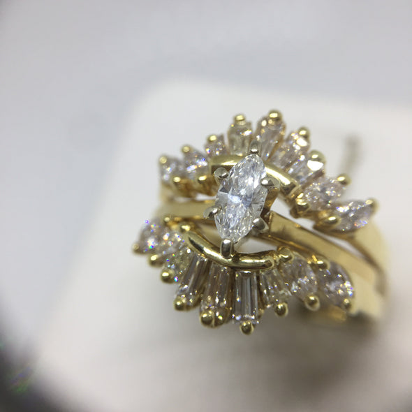18k Yellow Gold Marquee Cut Diamond Engagement Ring with Matching Guard -  - State Street Jewelry and Loan