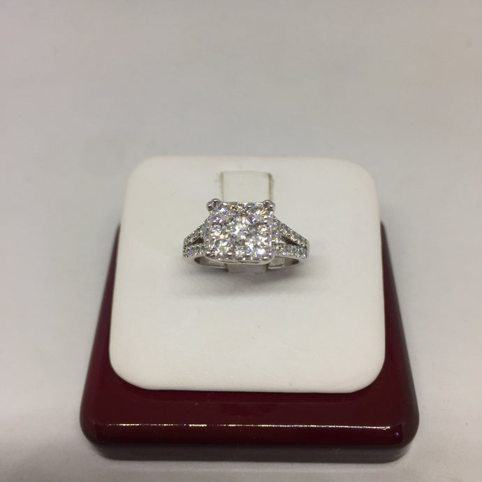 14k White Gold Cluster Diamond Engagement Ring -  - State Street Jewelry and Loan