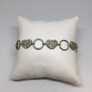 Sterling Silver Heart Diamond Bracelet -  - State Street Jewelry and Loan