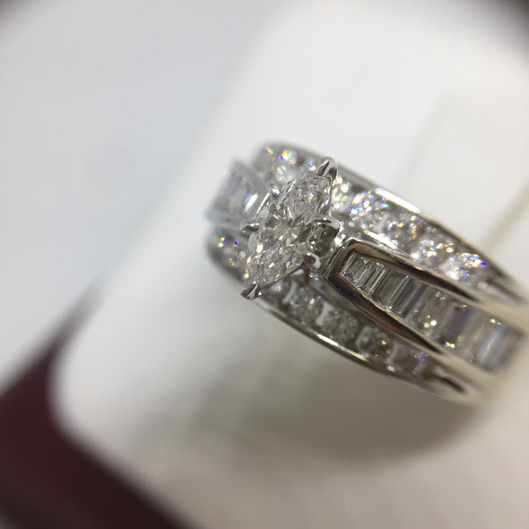 14K White Gold Marquee Cut Diamond Engagement Ring -  - State Street Jewelry and Loan