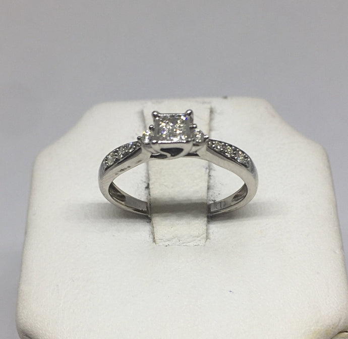 10k White Gold Ladies Diamond Cluster Engagement Ring -  - State Street Jewelry and Loan