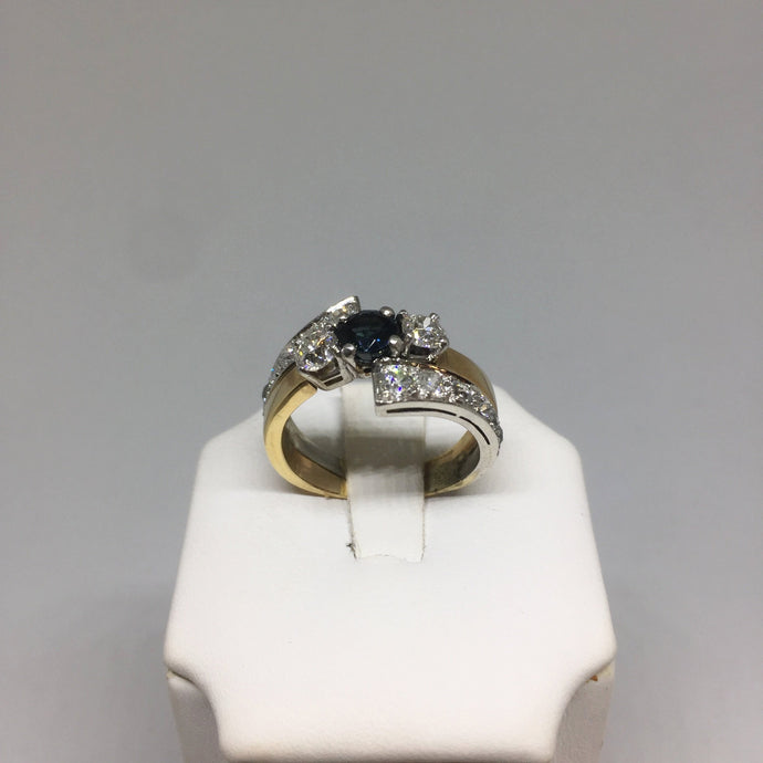 14K Two-Tone Sapphire and Diamond Ring -  - State Street Jewelry and Loan