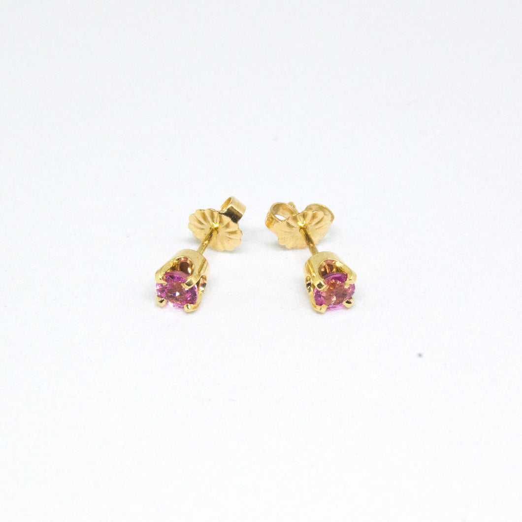 14K Yellow Gold Pink Sapphire Stud Earrings -  - State Street Jewelry and Loan