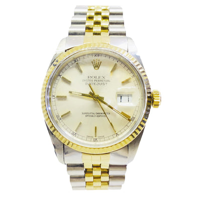 Rolex Oyster Perpetual Date-Just Two-Tone 16013 18K Gold Stainless Steel Champagne Face and Jubilee Band