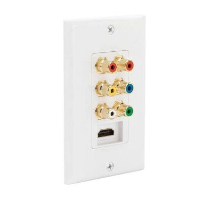 HDMI Video and Audio Combination Wall Plate-CE Tech-Dual HDMI & Audio/Video Wall Plate