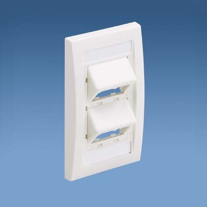 Panduit 4-Port Mini-Com SLOPED Faceplate, Executive Series, Off-White CFPSE4IW
