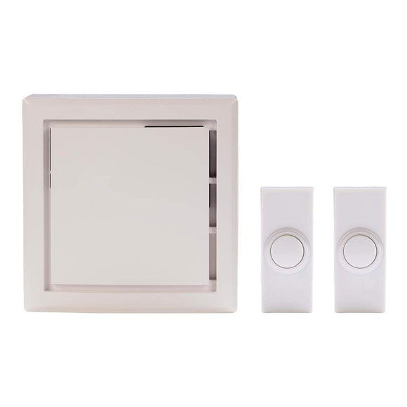 Wireless Door Bell Kit with 2-Push Buttons, White
