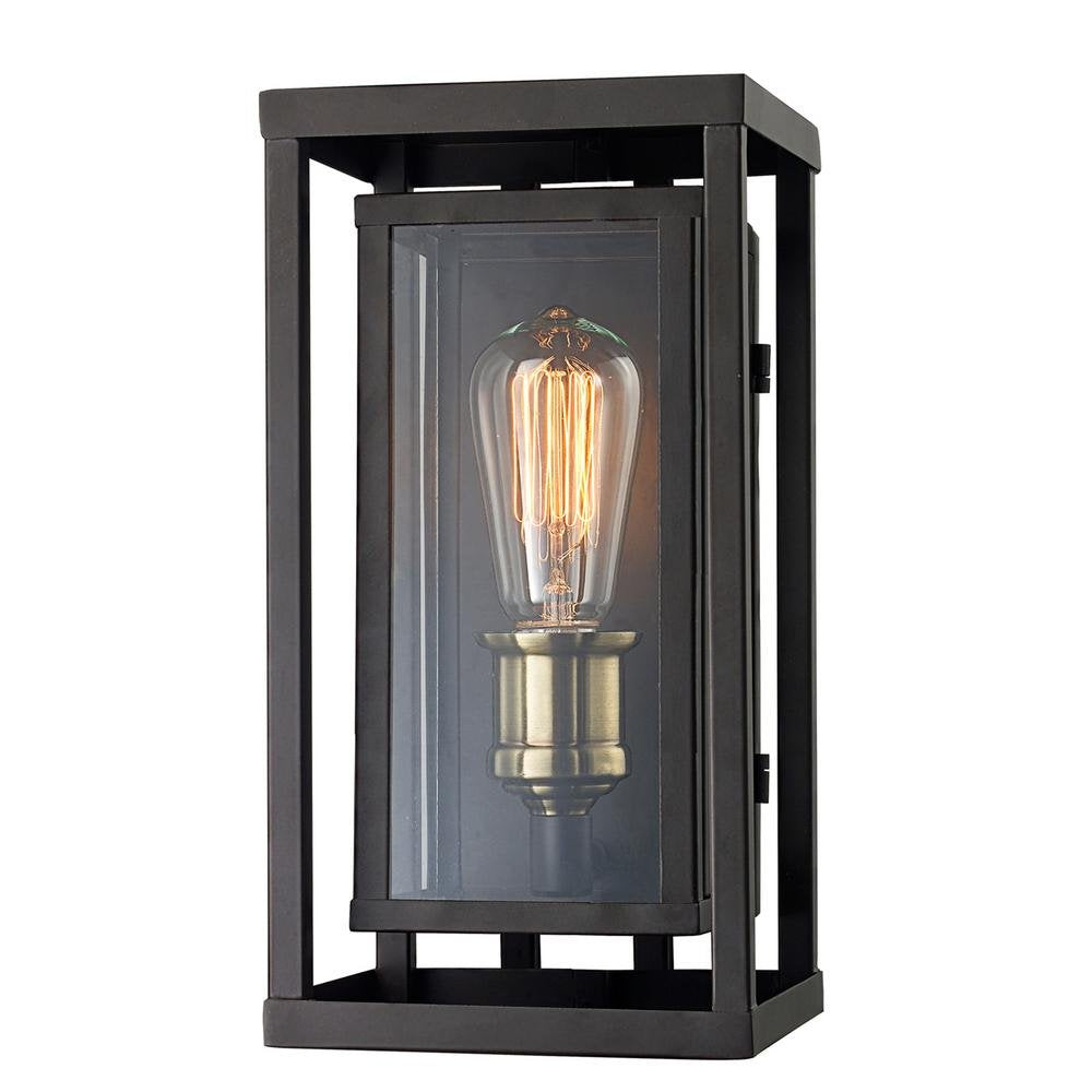 Retro 1-Light Oil Rubbed Bronze and Antique Brass Outdoor Wall Lantern